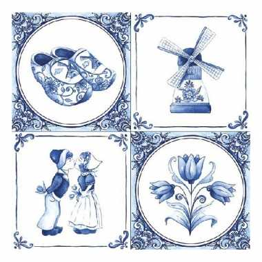Papieren servetten met delfts blauw thema print 40 stuks