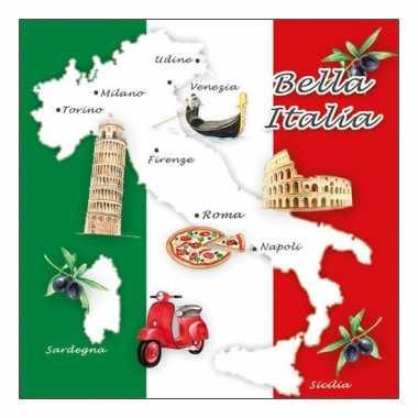 Papieren servetten met italiaans thema 20 stuks