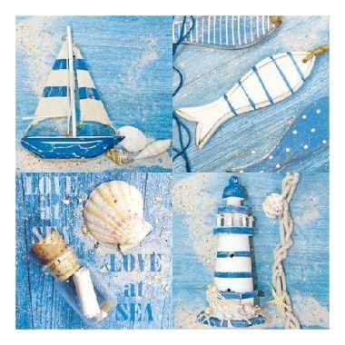 Papieren servetten met zee thema print 20 stuks
