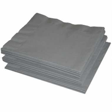 Papieren zilveren servetten 41 x 41 cm