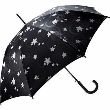 Paraplu zwart met zilveren sterren 85 cm