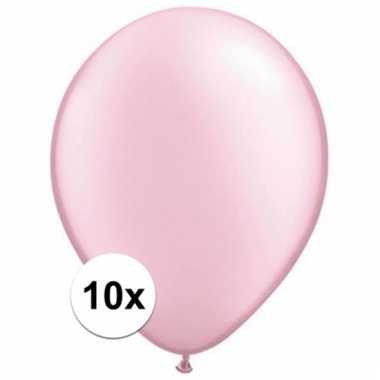 Parel roze qualatex ballonnen 10 stuks