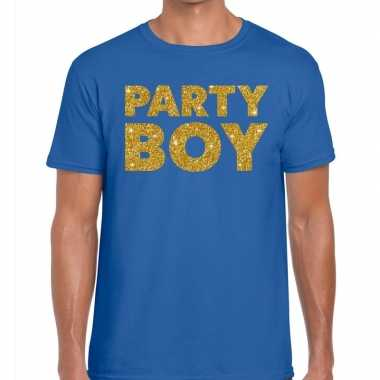 Party boy fun t-shirt blauw voor heren