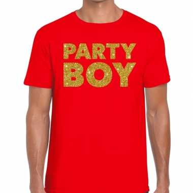 Party boy fun t-shirt rood voor heren