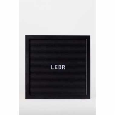 Party deco letterbord met alfabet zwart/zwart 30 x 30 cm