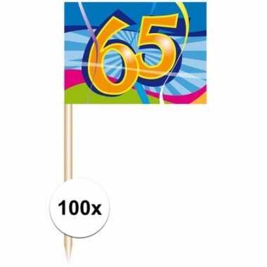 Party prikkers 65 jaar 100 stuks