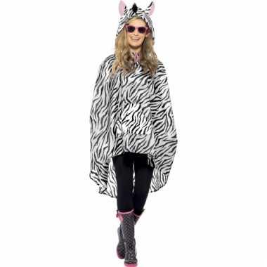 Party regenponcho met zebraprint