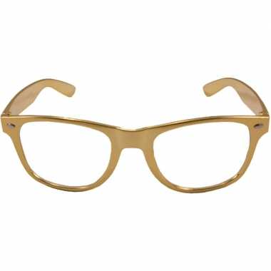 Party/verkleed bril metallic goud kunststof