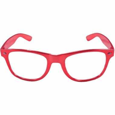 Party/verkleed bril metallic rood kunststof