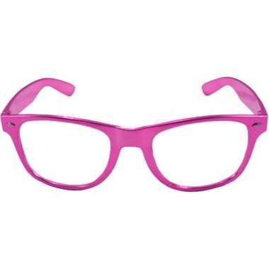 Party/verkleed bril metallic roze kunststof