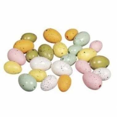 Pasen kwartel decoratie eieren 24 stuks