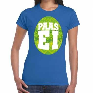 Pasen shirt blauw met groen paasei voor dames