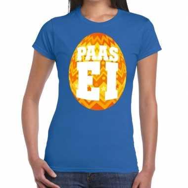 Pasen shirt blauw met oranje paasei voor dames