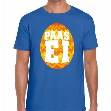 Pasen shirt blauw met oranje paasei voor heren