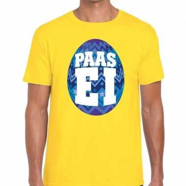 Pasen shirt geel met blauw paasei voor heren