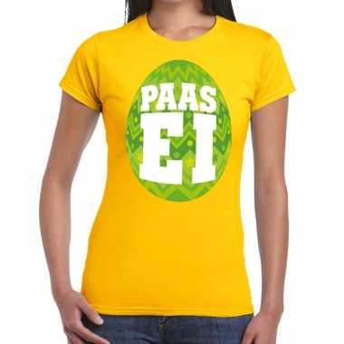 Pasen shirt geel met groen paasei voor dames