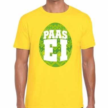 Pasen shirt geel met groen paasei voor heren