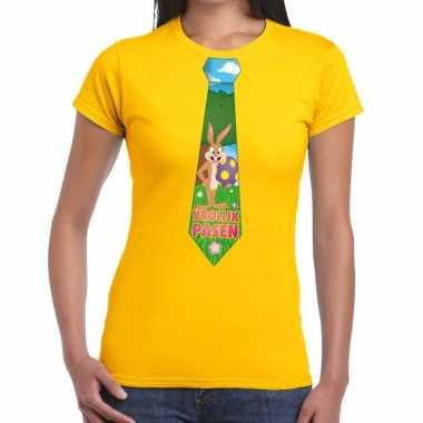 Pasen shirt geel met paashaas stropdas voor dames