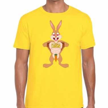 Pasen shirt geel verliefde paashaas voor heren