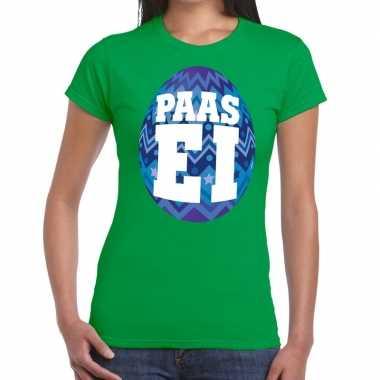 Pasen shirt groen met blauw paasei voor dames