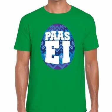 Pasen shirt groen met blauw paasei voor heren