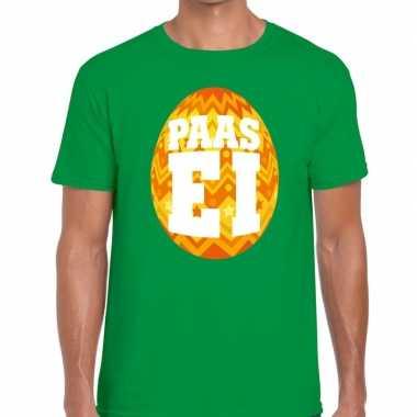 Pasen shirt groen met oranje paasei voor heren