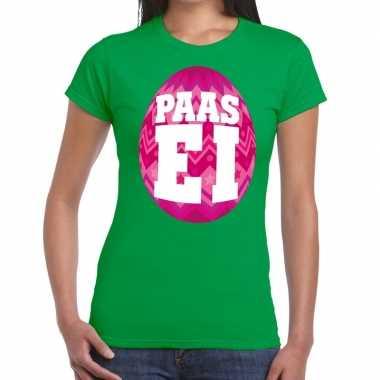 Pasen shirt groen met roze paasei voor dames