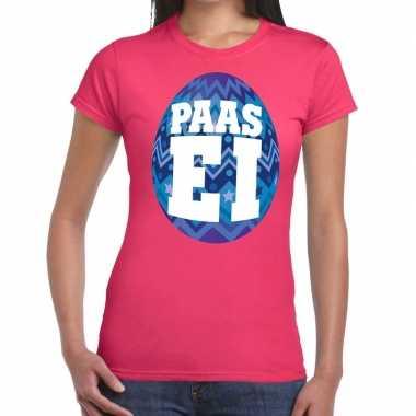 Pasen shirt roze met blauw paasei voor dames