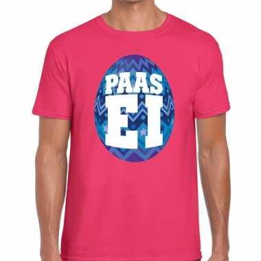 Pasen shirt roze met blauw paasei voor heren