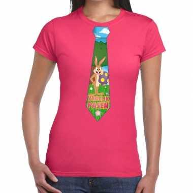 Pasen shirt roze met paashaas stropdas voor dames