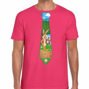 Pasen shirt roze met paashaas stropdas voor heren