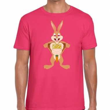 Pasen shirt roze verliefde paashaas voor heren