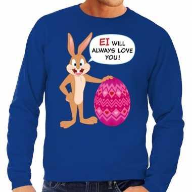 Pasen sweater blauw ei wil always love you voor heren