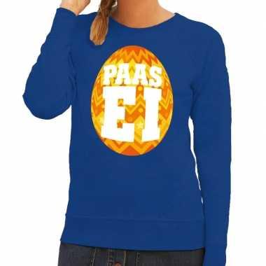 Pasen sweater blauw met oranje paasei voor dames
