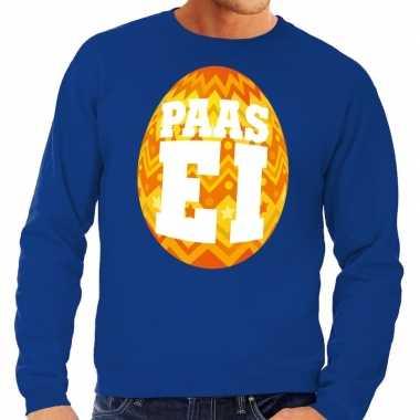 Pasen sweater blauw met oranje paasei voor heren