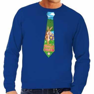 Pasen sweater blauw met paashaas stropdas voor heren