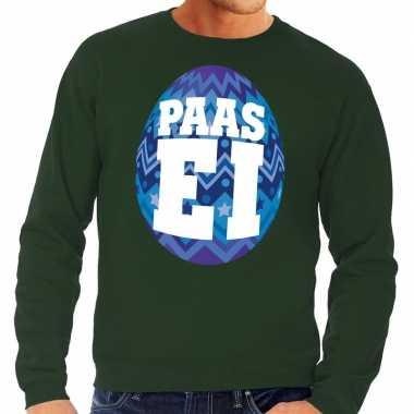Pasen sweater groen met blauw paasei voor heren
