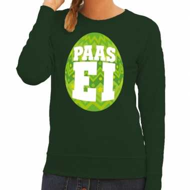 Pasen sweater groen met fel groen paasei voor dames