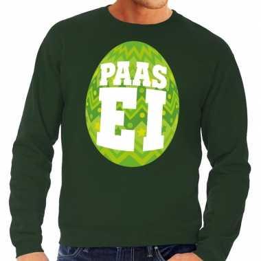 Pasen sweater groen met fel groen paasei voor heren