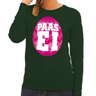 Pasen sweater groen met roze paasei voor dames