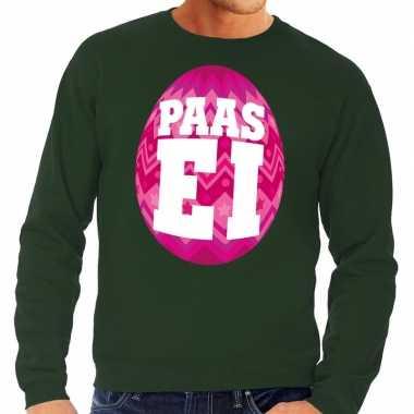 Pasen sweater groen met roze paasei voor heren