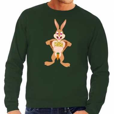 Pasen sweater groen verliefde paashaas voor heren