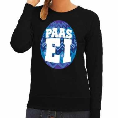 Pasen sweater zwart met blauw paasei voor dames
