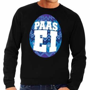 Pasen sweater zwart met blauw paasei voor heren