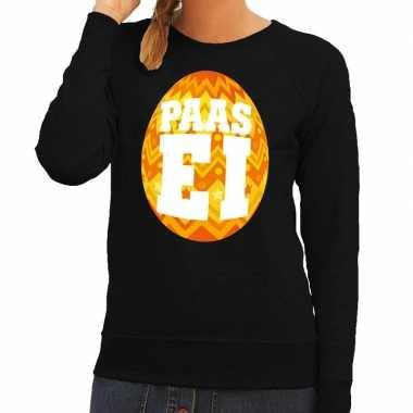 Pasen sweater zwart met oranje paasei voor dames