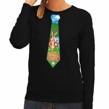 Pasen sweater zwart met paashaas stropdas voor dames