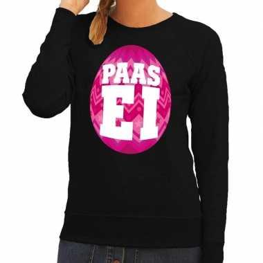 Pasen sweater zwart met roze paasei voor dames