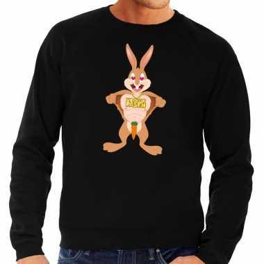 Pasen sweater zwart verliefde paashaas voor heren