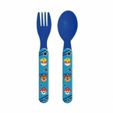 Paw patrol lepel en vork 14 cm voor kinderen