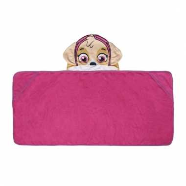 Paw patrol skye handdoek cape roze voor kinderen